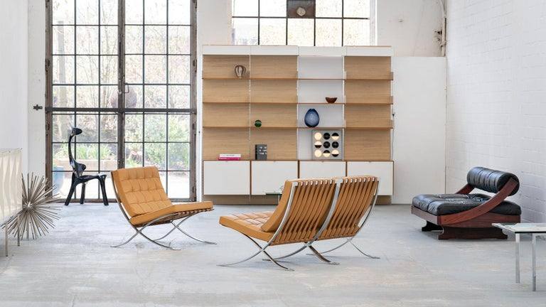 Very rare set - 3 identical Barcelona chairs by Ludwig Mies van der Rohe from 1962 for Knoll International.  Chrome-plated steel frame with cognac-colored leather. The chairs are all labeled and were purchased together in 1962 - since then they
