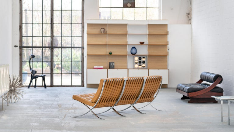 Mid-Century Modern L. Mies van der Rohe, 3 Barcelona Chair, 1962 Edition by Knoll International For Sale