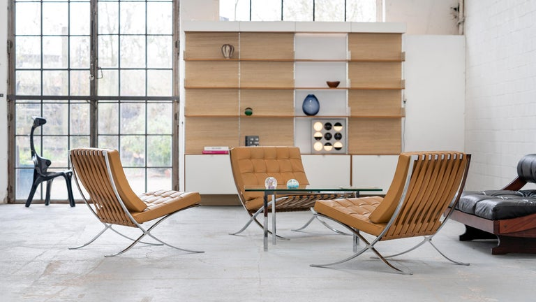 German L. Mies van der Rohe, 3 Barcelona Chair, 1962 Edition by Knoll International For Sale
