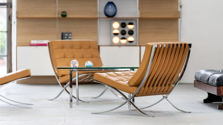 L. Mies van der Rohe, 3 Barcelona Chair, 1962 Edition by Knoll International In Good Condition For Sale In Munster, NRW