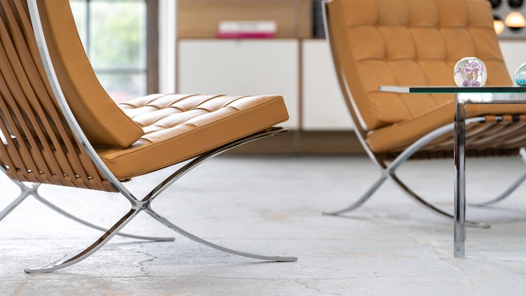 Mid-20th Century L. Mies van der Rohe, 3 Barcelona Chair, 1962 Edition by Knoll International For Sale