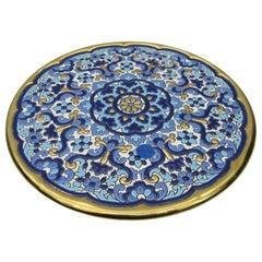 L Moreno Sevillarte Enameled Cake Plate with 24-Karat Gold Blue