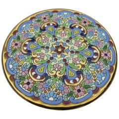 L Moreno Sevillarte Enameled Cake Plate with 24 Karat Gold Blue Green Pink