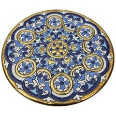 L Moreno Sevillarte Enameled Cake Plate with 24 Karat Gold Diameter Blue Gold