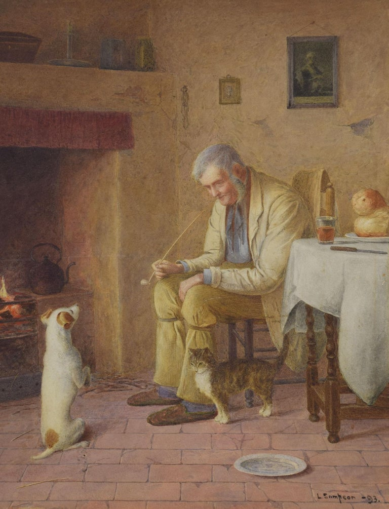 L Sampson signed watercolor, depicting a charming old man and his dog and cat around the open fire. Dimensions: Height 23 inches Width 20 inches Depth 1 inches.