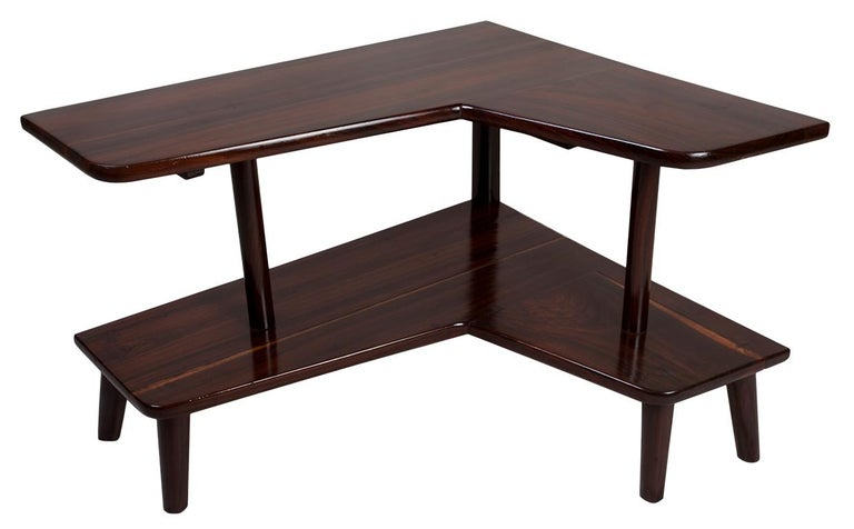 L-Shaped Rosewood Corner Table, Mid-Century Modern In Good Condition For Sale In Nantucket, MA