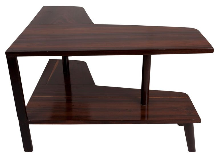 20th Century L-Shaped Rosewood Corner Table, Mid-Century Modern For Sale