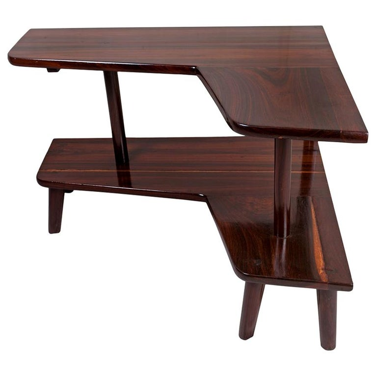 L-Shaped Rosewood Corner Table, Mid-Century Modern For Sale