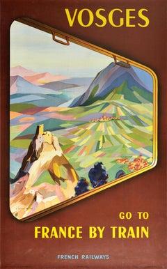 Original Vintage Poster Vosges France By Train French Railways Mountains Castle