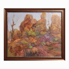 Southwest Impressionist Rocky Desert Landscape Painting with Purple Flowers