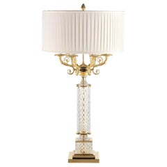 L034/T Italian Table Lamp in Crystal and Finishing Gold 24-Karat by Zanaboni