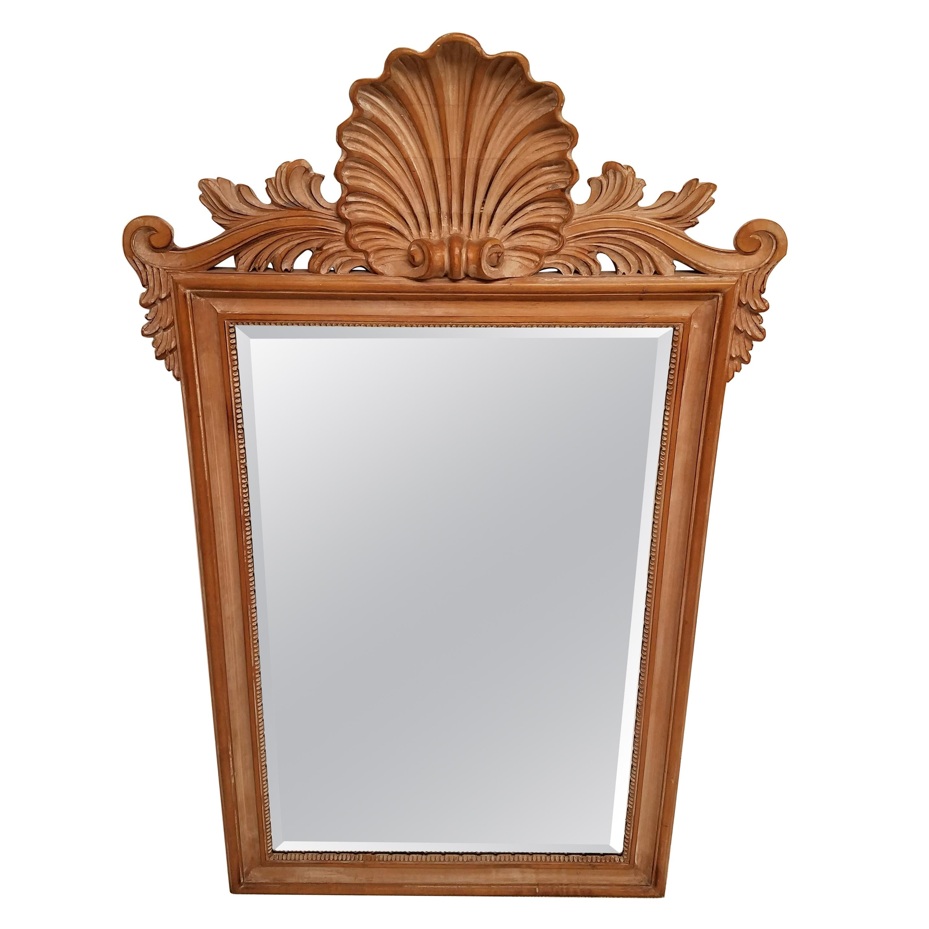 La Barge Bleach Fruitwood Carved Shell Beveled Mirror, Italy