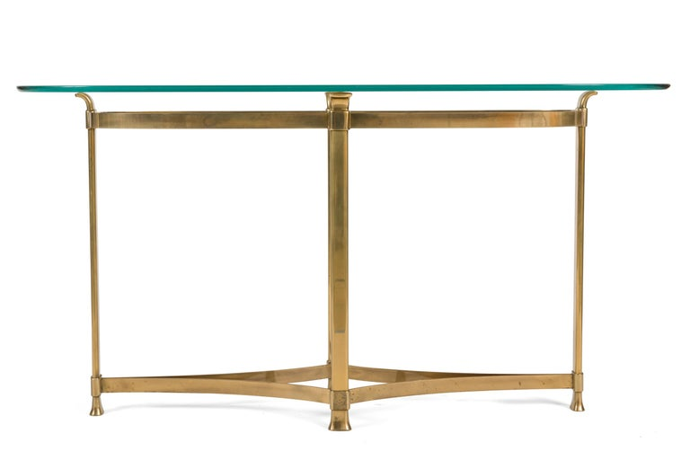 Mid-Century Modern La Barge Brass Console Table with Glass Top, Italy, 1970s For Sale
