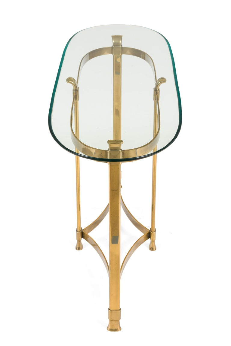 Italian La Barge Brass Console Table with Glass Top, Italy, 1970s For Sale