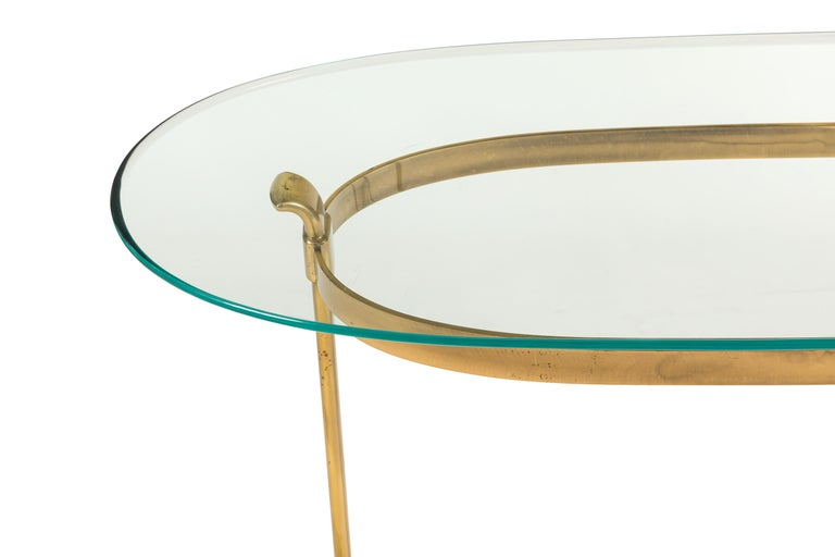 La Barge Brass Console Table with Glass Top, Italy, 1970s In Good Condition For Sale In New York, NY