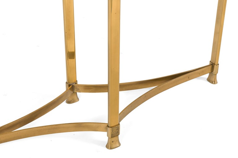 Late 20th Century La Barge Brass Console Table with Glass Top, Italy, 1970s For Sale