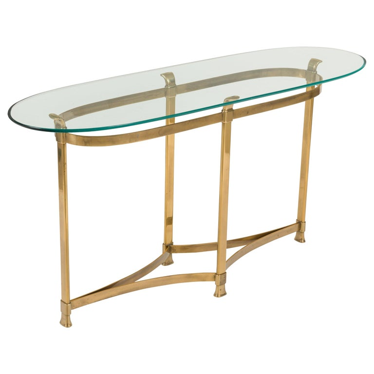 La Barge Brass Console Table with Glass Top, Italy, 1970s For Sale