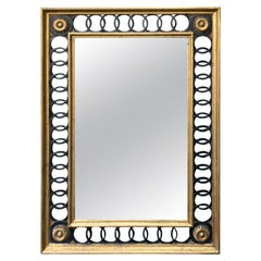 La Barge Italian Hollywood Regency Black and Gold Mirror circa 1960s, Labeled