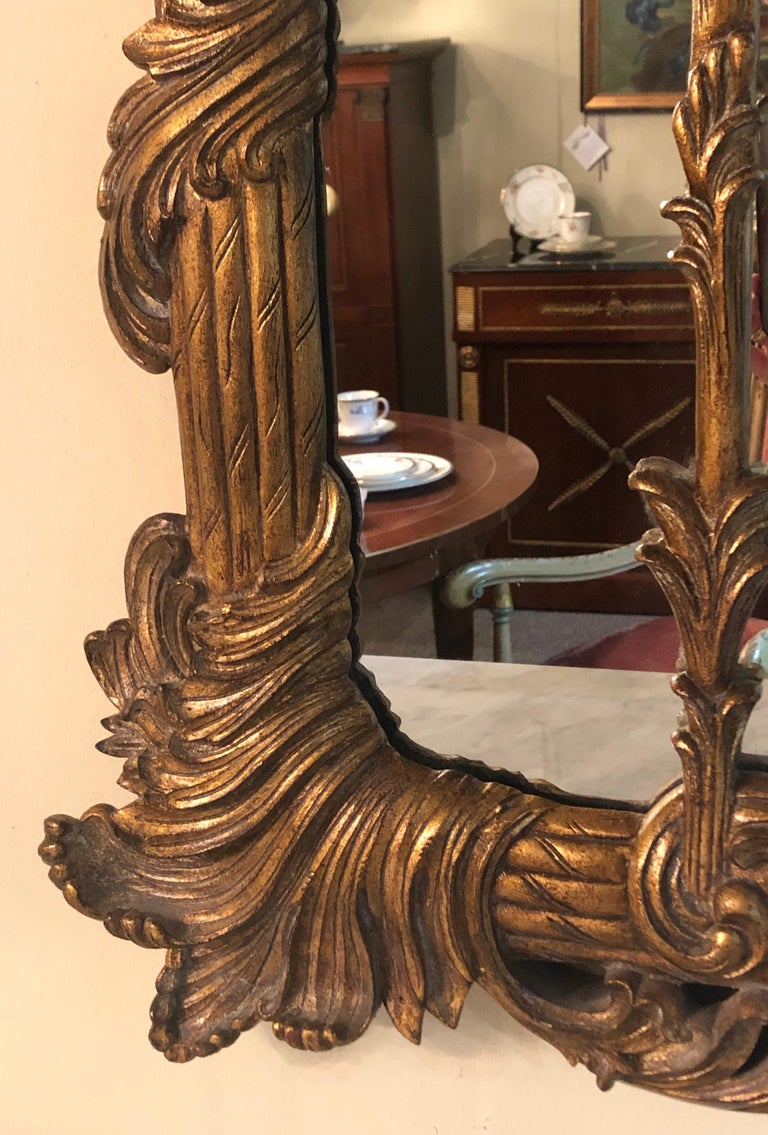 La Barge Italian Style Foliate Giltwood Wall, Console or over the Mantle Mirror For Sale 7