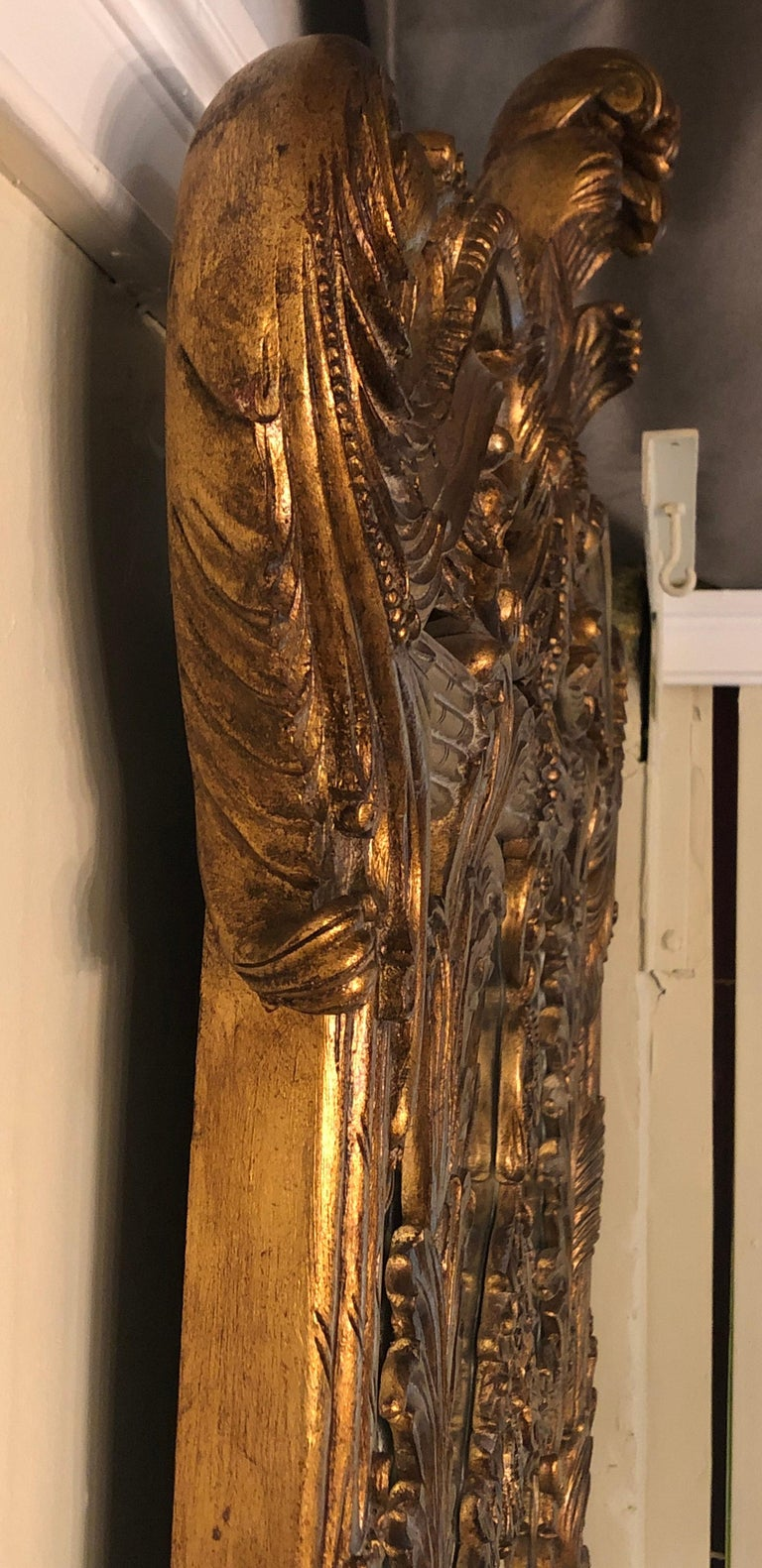 La Barge Italian Style Foliate Giltwood Wall, Console or over the Mantle Mirror For Sale 10