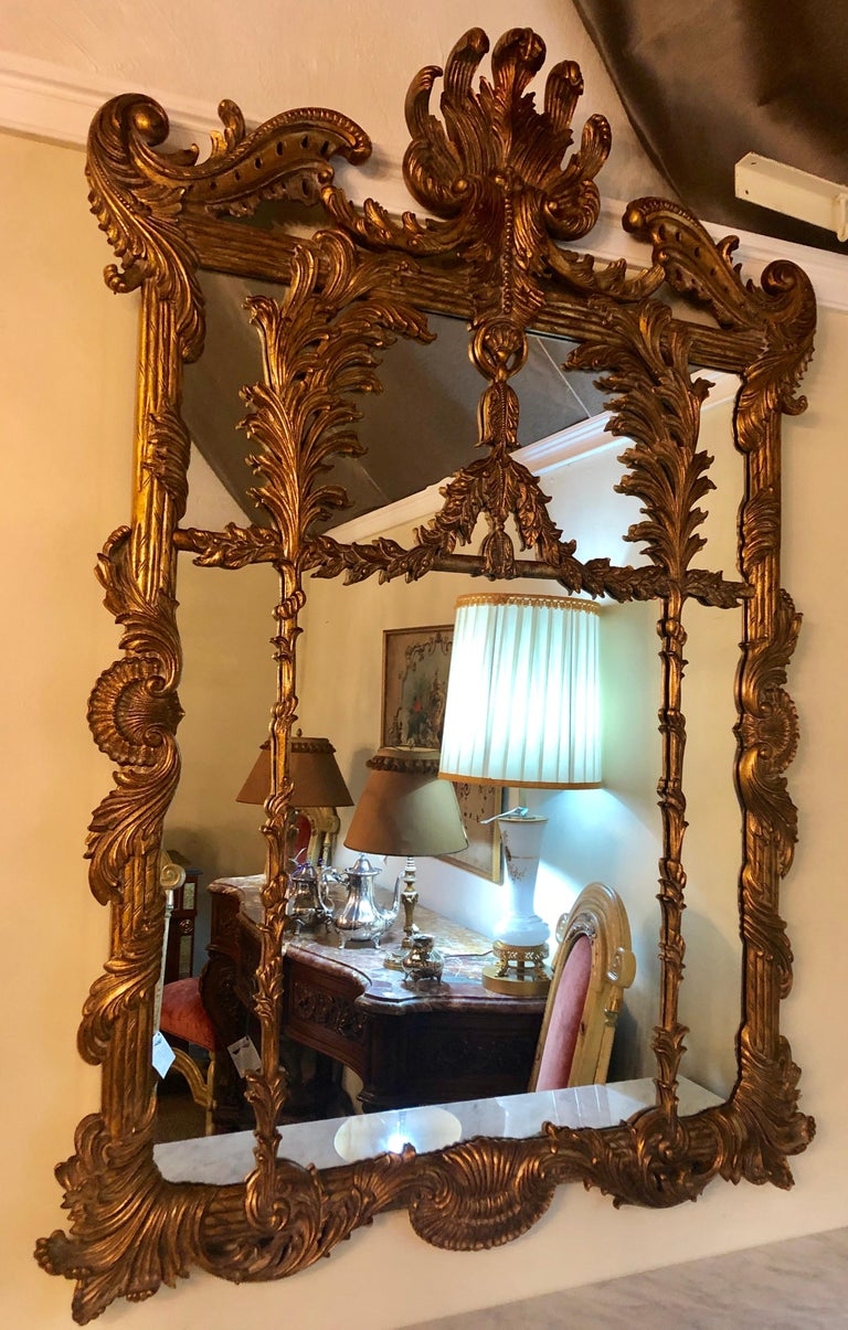 Baroque La Barge Italian Style Foliate Giltwood Wall, Console or over the Mantle Mirror For Sale