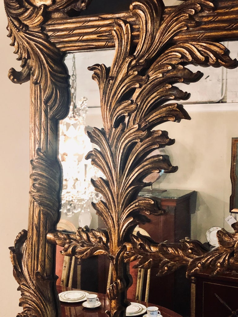 20th Century La Barge Italian Style Foliate Giltwood Wall, Console or over the Mantle Mirror For Sale