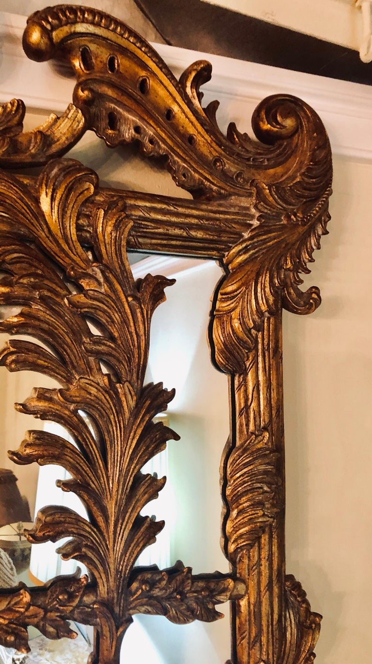 La Barge Italian Style Foliate Giltwood Wall, Console or over the Mantle Mirror For Sale 3