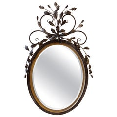 La Barge Oval Adam Style Wood and Italian Metal Beveled Mirror