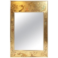 La Barge Reverse Hand Painted Chinoiserie Mirror, Signed and Dated 1979
