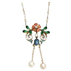 La Belle Époque Pearl, Diamond and Enamel Drop Necklace