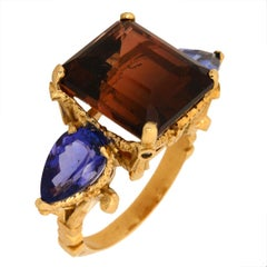 La Belle Ferronnière Ring 9Kt Yellow Gold Brown Tourmaline, Tanzanites, Diamonds