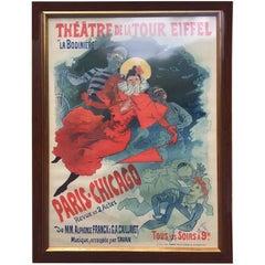 'La Bodinière,' Théatre De La Tour Eiffel, Vintage Framed Poster by Jules Chéret