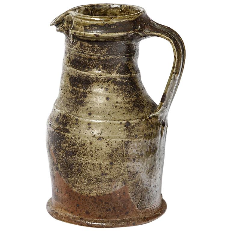 Brown Stoneware Ceramic Pitcher by Pierre Digan Folk Pottery Art, 1970