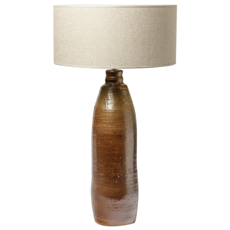 french handmade Large Midcentury Brown Stoneware Ceramic Table Lamp