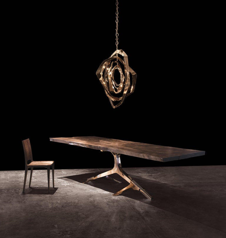 Designed by Barlas Baylar, this chandelier has a unique contemporary style that makes a statement in any environment. La Cage is created by 12 Type T LED bulbs embedded to the solid bronze housing frame. LED light both creates dynamic visual effects