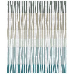 La Chapelle De Jour Contemporary Abstract Stone Green Wool and Silk 8x10 Rug
