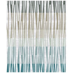 La Chapelle De Jour Contemporary Abstract Stone Green Wool and Silk Rug