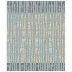 La Chapelle De Nuit - Striped Colorful Hand Knotted Wool Silk Rug