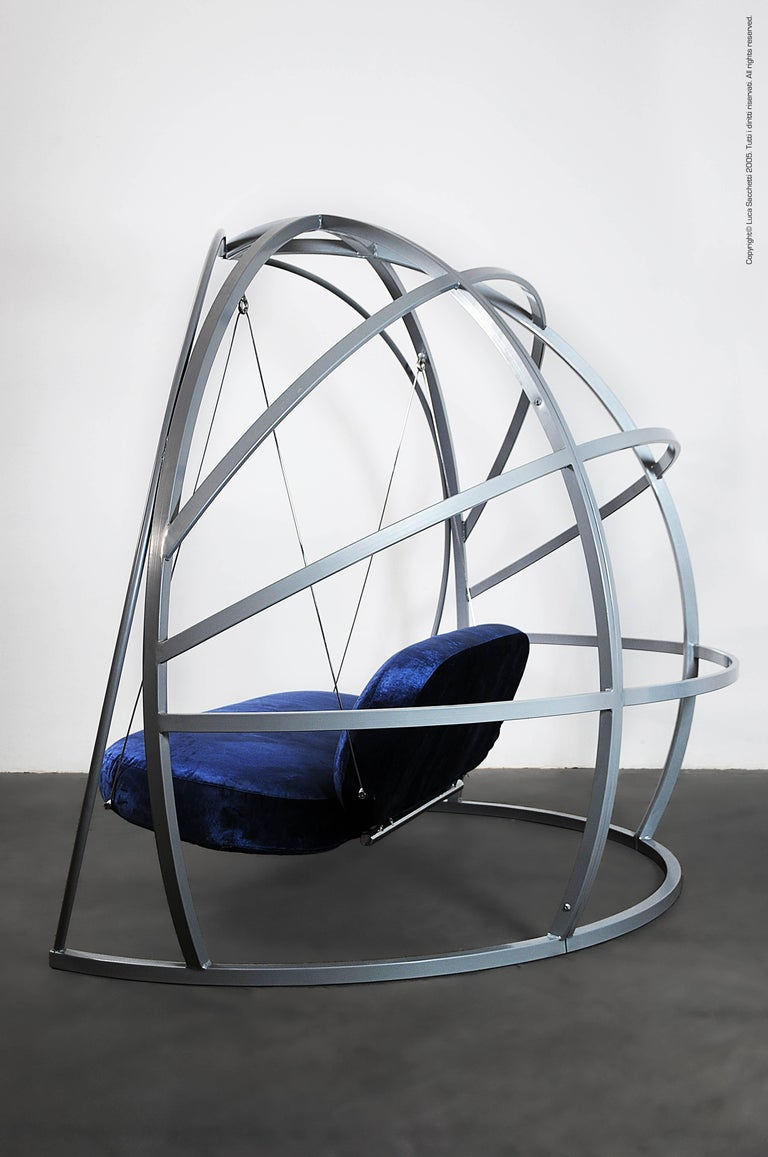 Other La Culla Rocking Sofa in Powder-Coated Steel For Sale