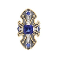 La Dame du Lac 18 Karat Gold Blue Sapphire and Diamond Shield Ring by Elie Top