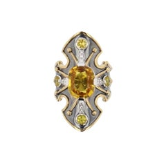 La Dame du Lac 18 Karat Gold Yellow Sapphire and Diamond Shield Ring by Elie Top
