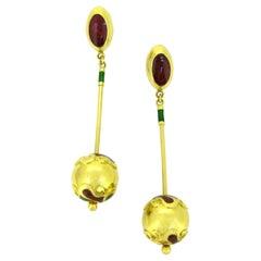 CHATILA Dangling Enamel Yellow Gold Beads Earrings