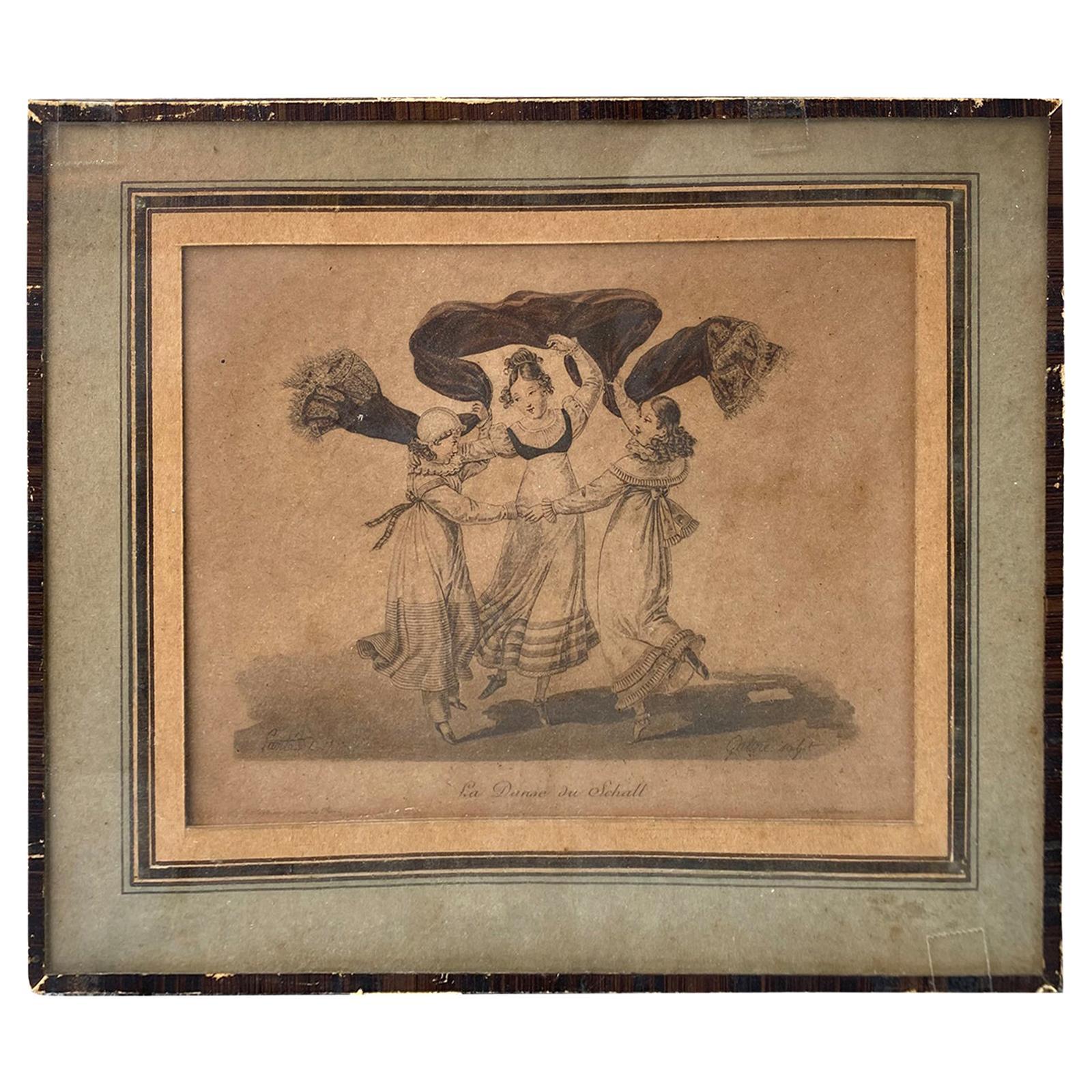 """La Danse du Chall"" Engraving After Original Print of c.1822 by Georges Gatine"