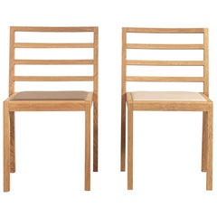 La Discrète No 08, Set of Stackable Chairs in Oak and Leather by Alice Etcaetera