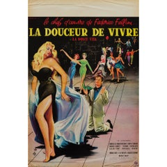 La Dolce Vita French Film Movie Poster, Yves Thos, 1960