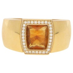 "Cartier ""La Dona"" Citrine and Diamond Cocktail Ring in 18k Yellow Gold"