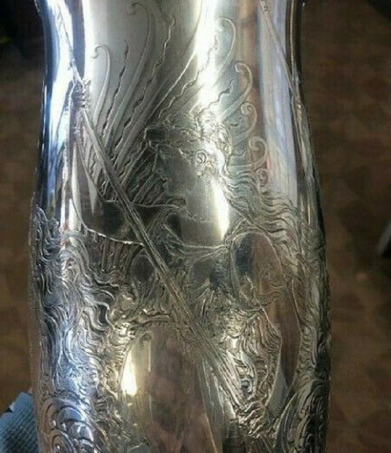 La Fantasy by Whiting Sterling Silver Tall Vase Acid Etched Figural Sea For Sale 6