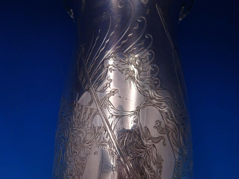 La Fantasy by Whiting Sterling Silver Tall Vase Acid Etched Figural Sea In Excellent Condition For Sale In Big Bend, WI