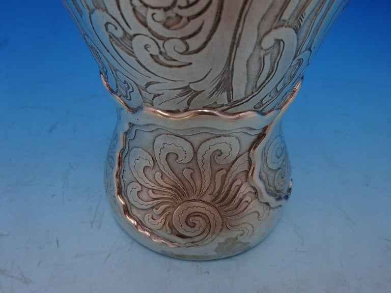 20th Century La Fantasy by Whiting Sterling Silver Tall Vase Acid Etched Figural Sea For Sale