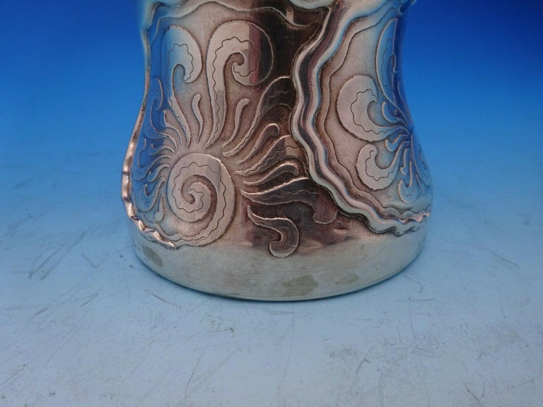 La Fantasy by Whiting Sterling Silver Tall Vase Acid Etched Figural Sea For Sale 1